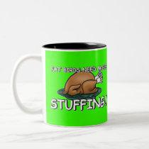 Funny chicken joke Two-Tone coffee mug