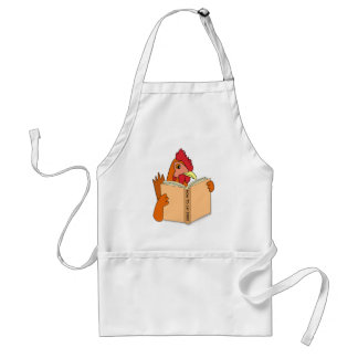 Funny Chicken Reading Book Cartoon Hen Adult Apron