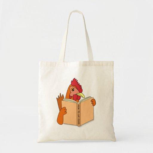 Funny Chicken Reading Book Cartoon Hen Bag