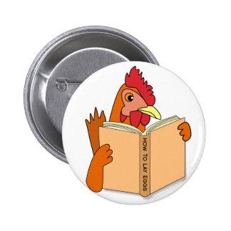 Funny Chicken Reading Book Cartoon Hen Pinback Buttons