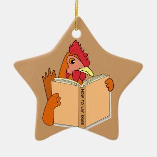 Funny Chicken Reading Book Cartoon Hen Ceramic Ornament