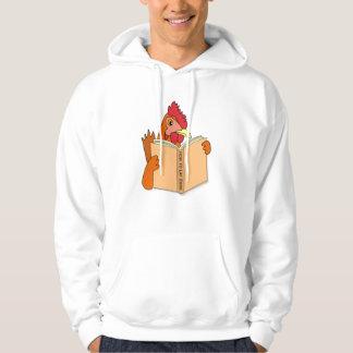 Funny Chicken Reading Book Cartoon Hen Hoodie