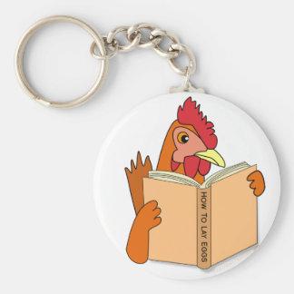 Funny Chicken Reading Book Cartoon Hen Keychain