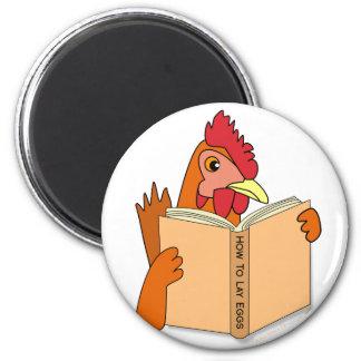 Funny Chicken Reading Book Cartoon Hen Magnet