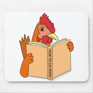 Funny Chicken Reading Book Cartoon Hen Mouse Pad