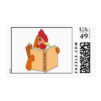 Funny Chicken Reading Book Cartoon Hen Stamp