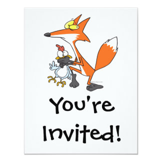 "funny chicken stealing stealer fox 4.25"" x 5.5"" invitation card"