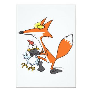 "funny chicken stealing stealer fox 5"" x 7"" invitation card"