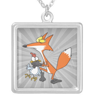 funny chicken stealing stealer fox necklace
