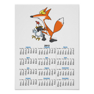 funny chicken stealing stealer fox poster