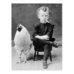 Funny Chicken With Smoking Kid Vintage Photo Postcard