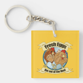 Funny Chickens and Fresh Eggs Logo Double-Sided Square Acrylic Keychain