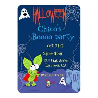Funny Chico Chihuahua halloween invitation ghost
