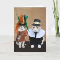 Funny Chief and Pilgrim Cat Lover Thanksgiving Holiday Card