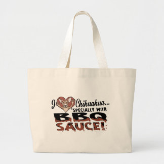 Funny Chihuahua BBQ Large Tote Bag
