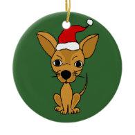 Funny Chihuahua Dog in Santa Hat Christmas Tree Ornaments