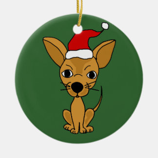 Funny Chihuahua Dog in Santa Hat Christmas Tree Ornaments