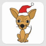 Funny Chihuahua Dog in Santa Hat Square Stickers