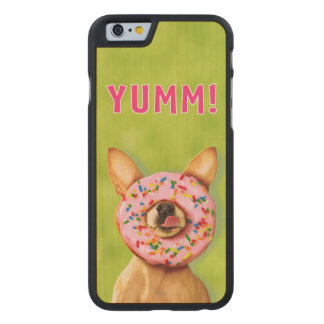 Funny Chihuahua Dog with Sprinkle Donut on Nose Carved Maple iPhone 6 Slim Case