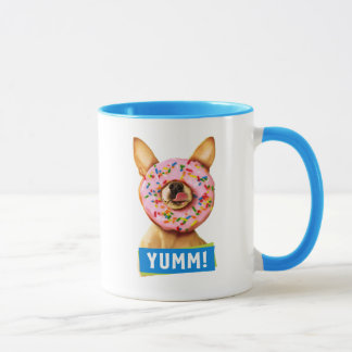 Funny Chihuahua Dog with Sprinkle Donut on Nose Mug