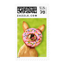 Funny Chihuahua Dog with Sprinkle Donut on Nose Postage