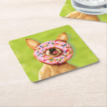 Funny Chihuahua Dog with Sprinkle Donut on Nose Square Paper Coaster