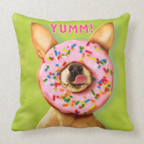 Funny Chihuahua Dog with Sprinkle Donut on Nose Throw Pillow