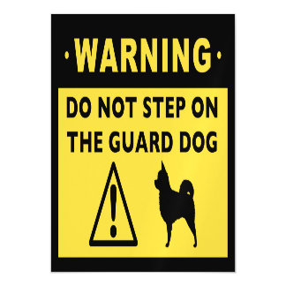 Funny Chihuahua (Long Haired) Guard Dog Warning Magnetic Card