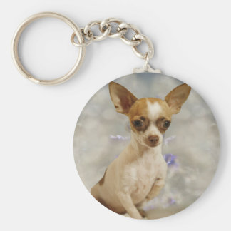 Funny Chihuahua Puppy (Cream/Brown) First Step Basic Round Button Keychain