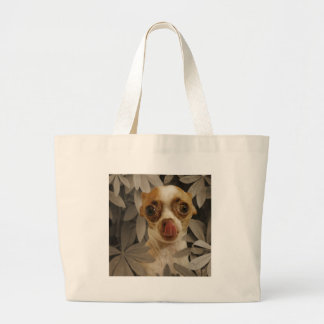 Funny Chihuahua Puppy Cream Brown Tongue Poke Tote Bags