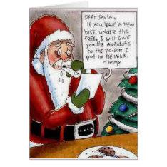Funny Child Bribes Santa Christmas Card at Zazzle
