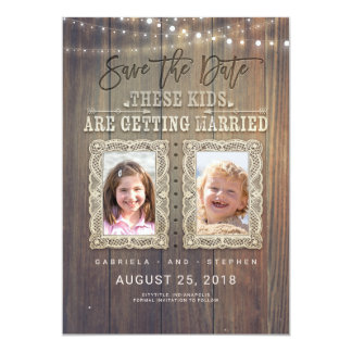 Funny Childhood Photos   Rustic Wood Save the Date Card