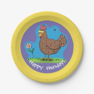 Funny chilled out chicken cartoon paper plate.