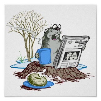 Funny Chillin' Out Groundhog Poster