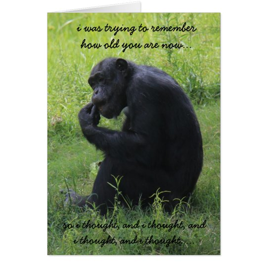 Funny Chimp The Thinker Over The Hill Birthday Card
