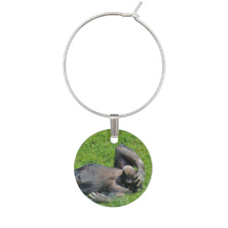 Funny Chimpanzee in the Green Grass Wine Glass Charm