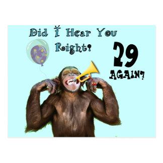 Funny Chimpanzee Over the Hill Birthday Postcard