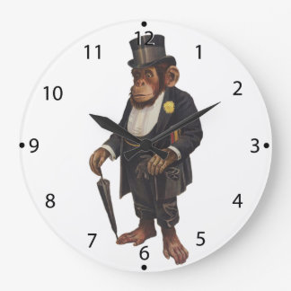 Funny chimpanzee - retro monkey - monkey chimp large clock