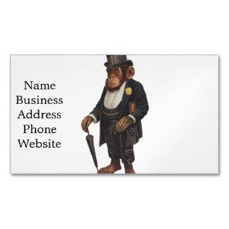 Funny chimpanzee - retro monkey - monkey chimp magnetic business card