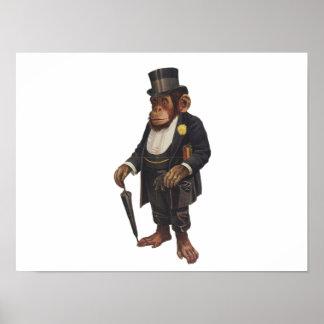 Funny chimpanzee - retro monkey - monkey chimp poster