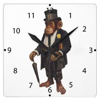 Funny chimpanzee - retro monkey - monkey chimp square wall clock