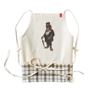 Funny chimpanzee - retro monkey - monkey chimp zazzle HEART apron