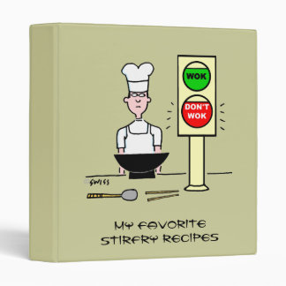 Funny Chinese Chef Cartoon Stir Fry Wok Recipes Binder