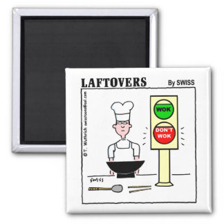Funny Chinese Cuisine Wok Laftovers Cartoon Magnet