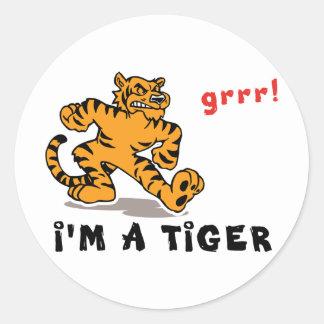 Funny Chinese Zodiac Tiger Classic Round Sticker