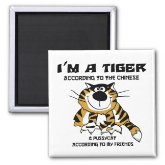 Funny Chinese Zodiac Tiger Gift 2 Inch Square Magnet