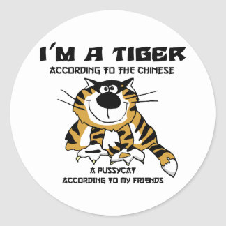Funny Chinese Zodiac Tiger Gift Classic Round Sticker