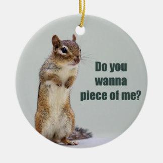 Funny Chipmunk Picture Ceramic Ornament