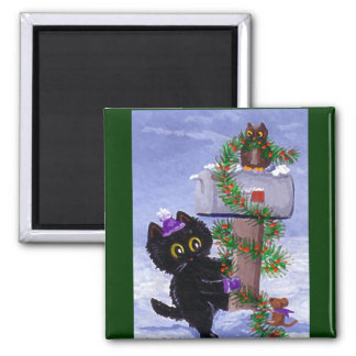Funny Chistmas Cat Mouse Owl Creationarts Magnet