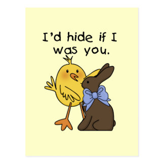 Funny Chocolate Bunny Easter Tshirts and Gifts Postcard